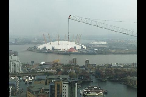 Canary Wharf crane worker above Dome